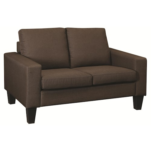 Coaster Bachman Love Seat with Track Arms and Tapered Wood Legs