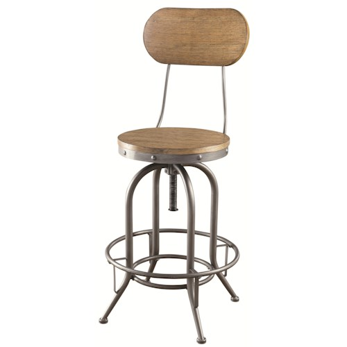 Coaster Bar Units and Bar Tables Adjustable Bar Stool with Wood Back and Seat