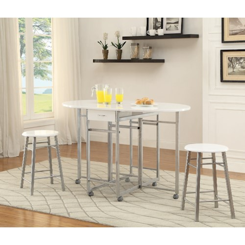 Coaster Bar Units and Bar Tables 3-Piece Set with Two Drop Down Leaves