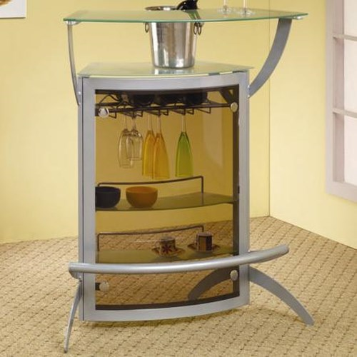 Coaster Bar Units and Bar Tables Contemporary Silver Metal Bar Unit with Glass Top