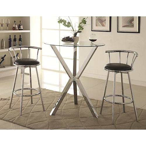 Coaster Bar Units and Bar Tables 3 Piece Pub Table Set with Swivel Bar Stools