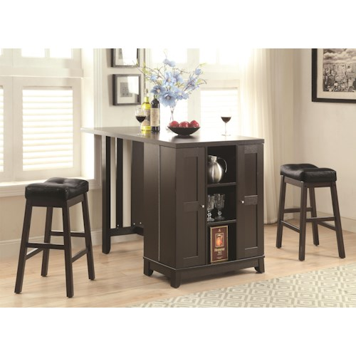 Coaster Bar Units and Bar Tables Counter Height Table Set with Built In Storage