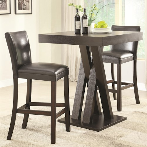 Coaster Bar Units and Bar Tables Three Piece Bar Height Table and Stools Set