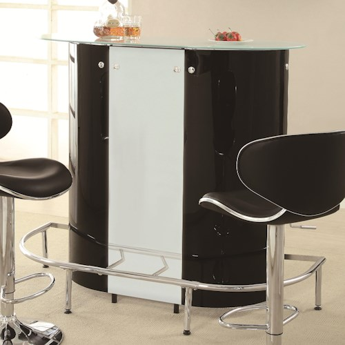 Coaster Bar Units and Bar Tables Contemporary Bar Unit with Frosted Glass Top