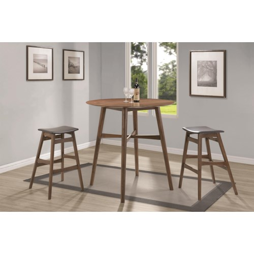 Coaster Bar Units and Bar Tables Mid Century Modern Dining Set with Round Bar Table