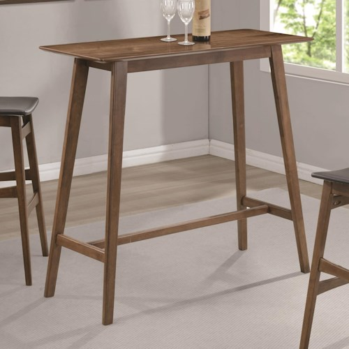 Coaster Bar Units and Bar Tables Rectangular Bar Table with Mid-Century Modern Design