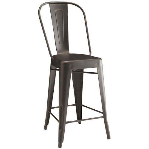 Coaster Bar Units and Bar Tables Lahner Metal Counter Height Chair in Black