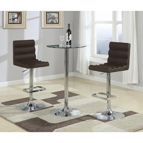 Coaster Bar Units and Bar Tables 3 Piece Bar Table with Tempered Glass Top Set