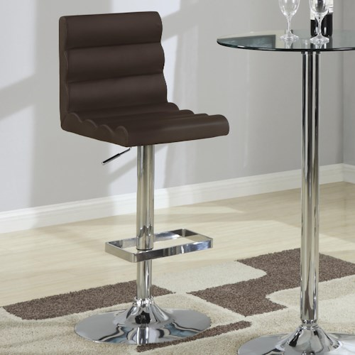 Coaster Bar Units and Bar Tables Contemporary Adjustable Brown Stool with Roll Back