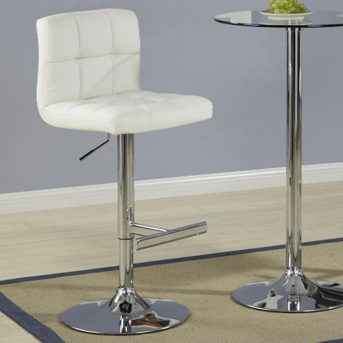 Coaster Bar Units and Bar Tables Contemporary Adjustable Cream Stool with Padded Straight Line Back