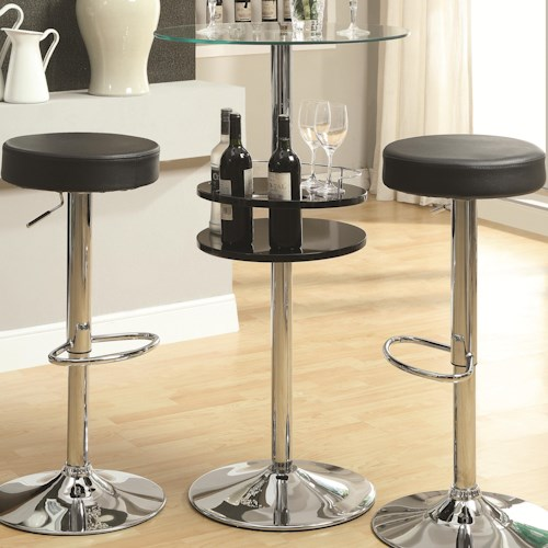 Coaster Bar Units and Bar Tables Black Bar Table with Tempered Glass Top and Storage
