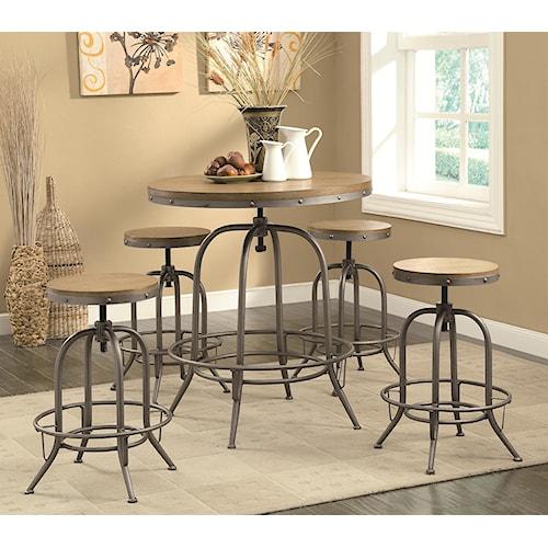 Coaster Bar Units and Bar Tables Transitional Adjustable Bar table and Stool Set