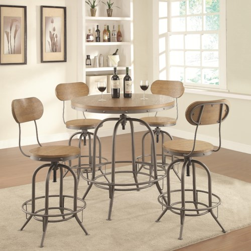 Coaster Bar Units and Bar Tables Adjustable Bar Table Set with Stools
