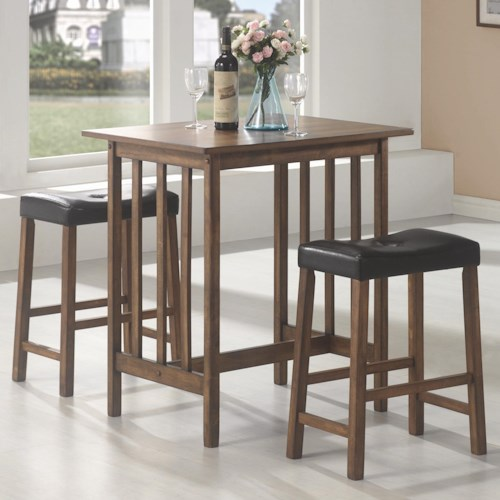 Coaster Bar Units and Bar Tables 3 Piece Bar Table and Stool Set