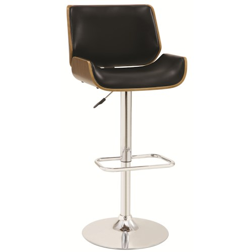 Coaster Bar Units and Bar Tables Adjustable Bar Stool with Black Upholstery and Wood Back