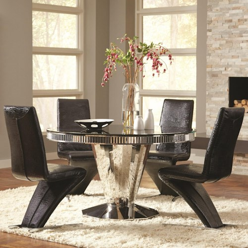 Coaster Barzini 5 Piece Round Dining Table and Black Leatherette Chair Set