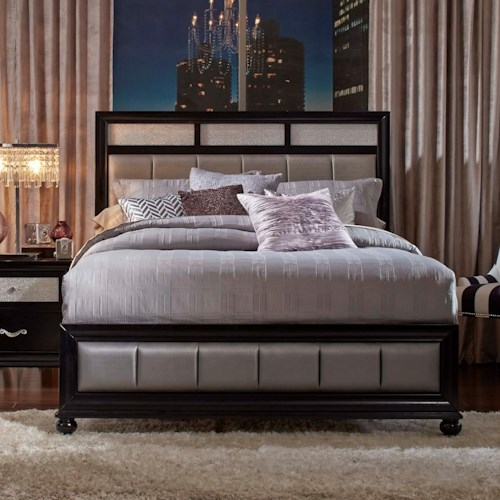 Coaster Barzini California King Bed with Metallic Leatherette Upholstery