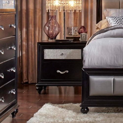 Coaster Barzini 2 Drawer Nightstand with a Metallic Acrylic Drawer Front