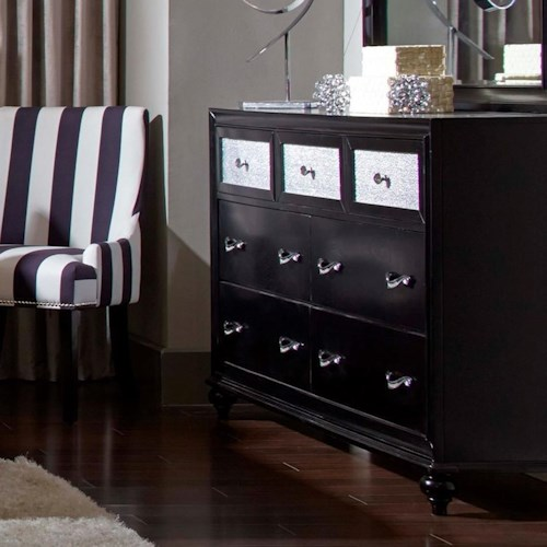 Coaster Barzini 7 Drawer Dresser with Metallic Acrylic Drawer Fronts
