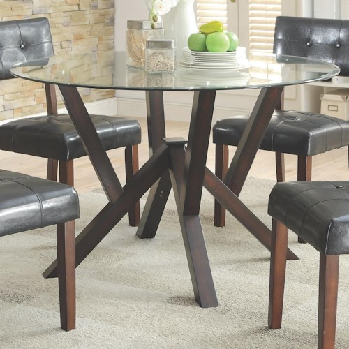 Coaster Beaux Contemporary Round Glass Top Dining Table with Solid Wood Base