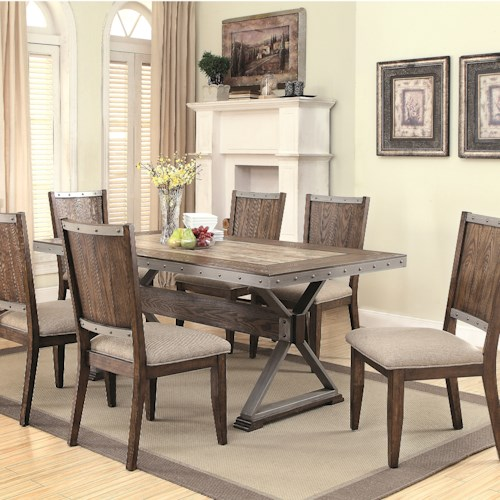 Coaster Beckett 7 Piece Rustic Table Set with Ceramic Tile Top