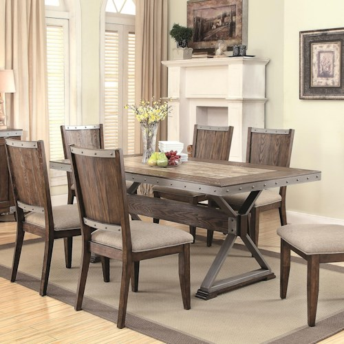 Coaster Beckett Rectangular Rustic Dining Table with Ceramic Tile Top