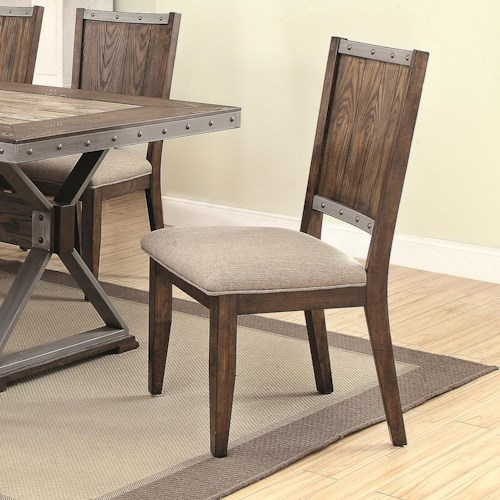 Coaster Beckett Rustic Side Chair with Wine Barrel Inspired Back