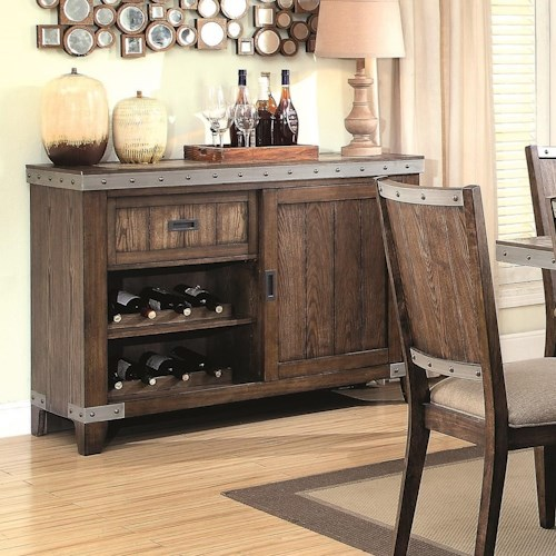 Coaster Beckett Rustic Server with Removable Wine Rack