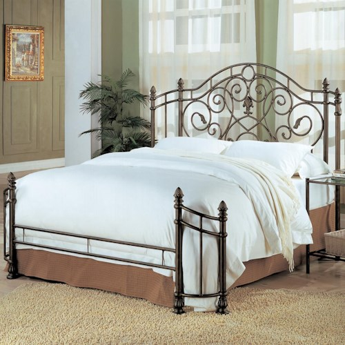 Coaster Violet King Iron Bed with Pineapple Finials