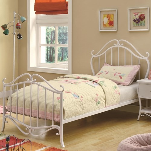 Coaster Bella Twin Youth Bed in White Metal with Bunkie Mattress