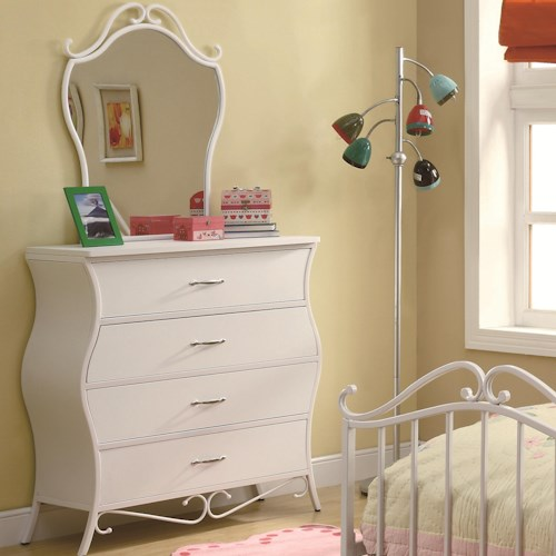 Coaster Bella Youth Four Drawer Dresser and Mirror Combination