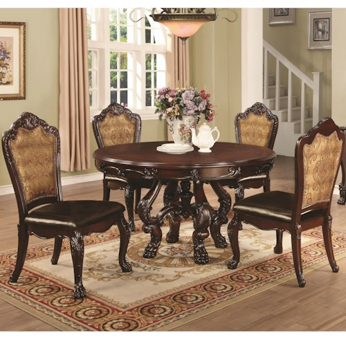 Coaster Benbrook Dining Table and Chair Set with 4 Side Chairs