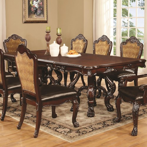 Coaster Benbrook Dining Table with Claw Feet and Palmette Details