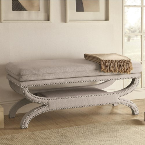 Coaster Benches Fully Upholstered Light Grey Bench with Nailhead Trim