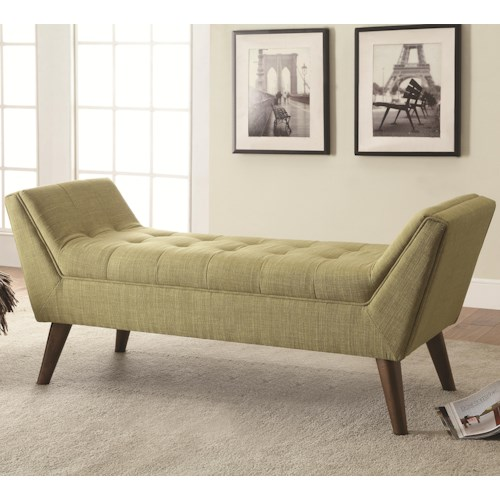 Coaster Benches Mid-Century Modern Upholstered Accent Bench