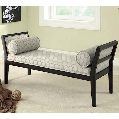 Coaster Benches Off White Hexagon Bench with Lumbar Pillows