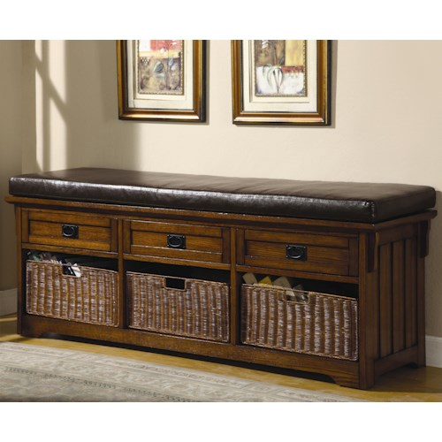 Coaster Benches Large Storage Bench with Baskets