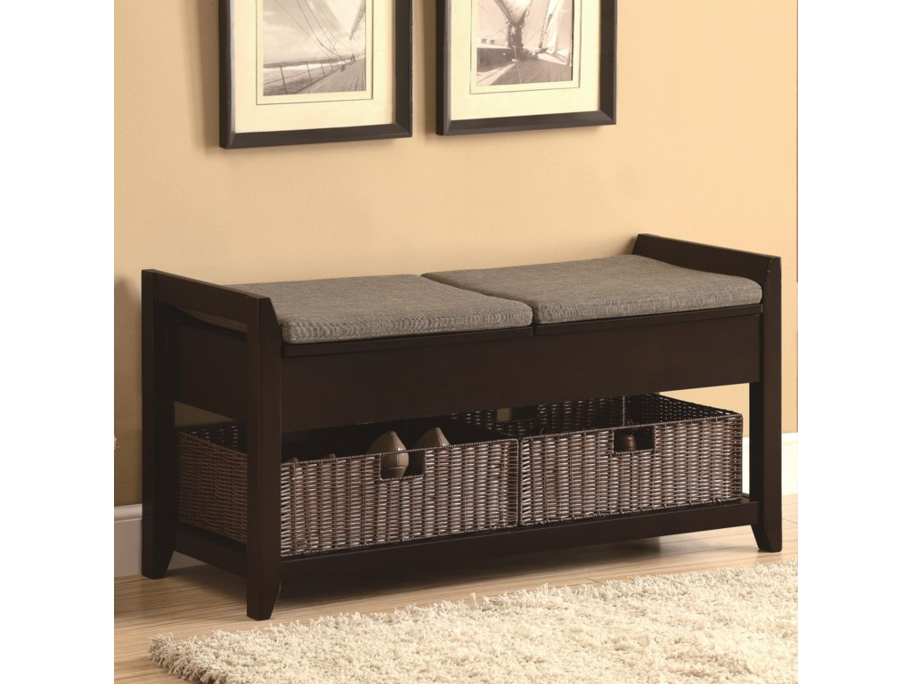 Padded Benches Living Room Coaster Benches Accent Bench With Storage Baskets Del Sol