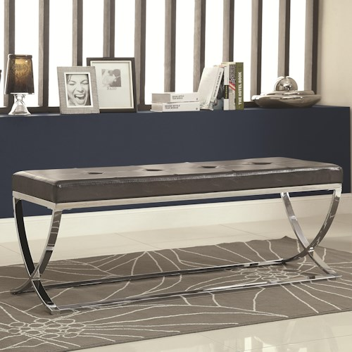 Coaster Benches Man-Made Leather Bench w/ Silver Metal Base