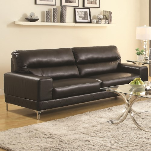 Coaster Benjamin Contemporary Sofa with Metal Bracket Legs and Pleat Detailing
