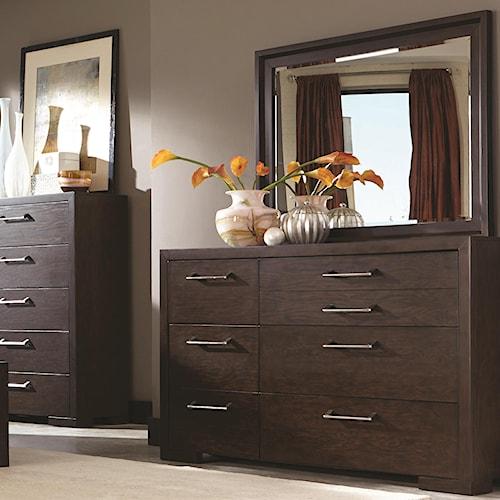 Coaster Berkshire 7 Drawer Dresser and Mirror in Bitter Chocolate Finish