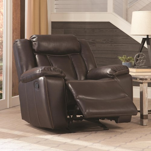 Coaster Bevington Casual Glider Recliner with Channeled Backrest