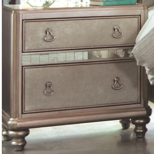 Coaster Bling Game Nightstand with 2 Drawers and Stacked Bun Feet