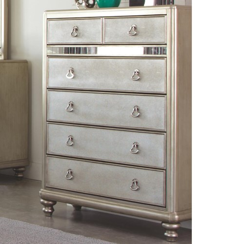 Coaster Bling Game Chest with 6 Drawers and Stacked Bun Feet