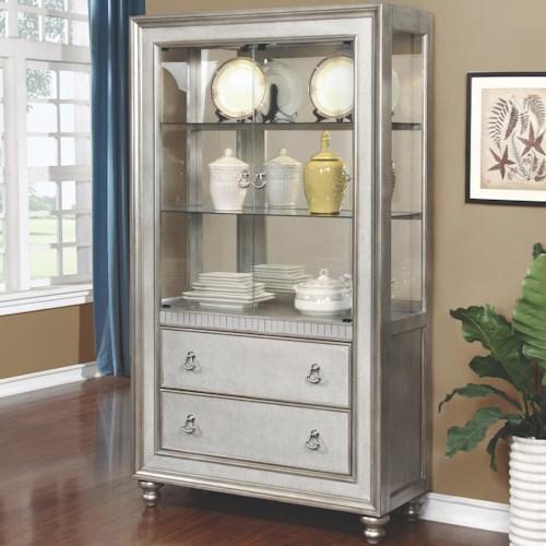 Coaster Bling Game Curio Cabinet with 3 Shelves and 2 Drawers
