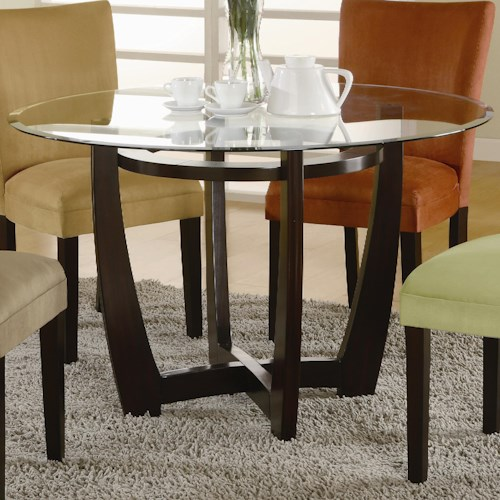 Coaster Bloomfield Round Cross Table Base with Beveled Glass Top