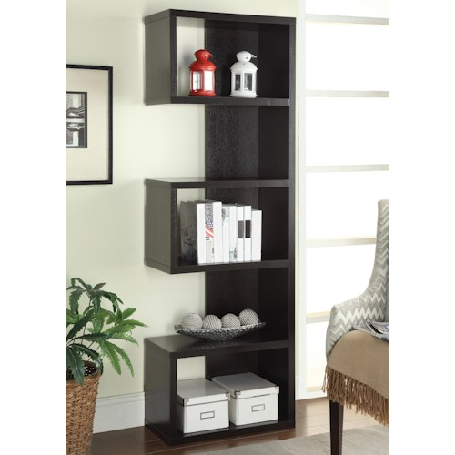 Coaster Bookcases Cappuccino Semi-Backless Bookshelf