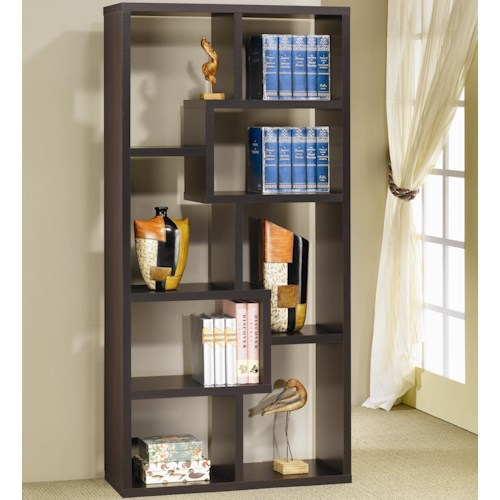 Coaster Bookcases Contemporary Asymmetrical Cube Bookcase, Cappucino
