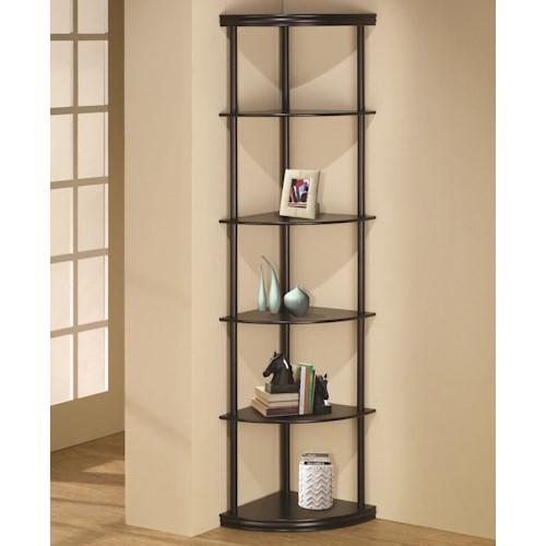 Coaster Bookcases Corner Bookshelf in Dark Finish
