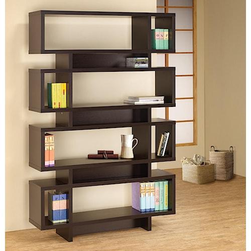 Coaster Bookcases Contemporary Cappuccino Finish Open Bookcase